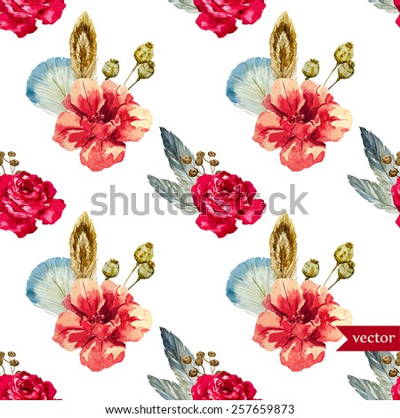 Rose Flower Watercolor Pattern Feather Boho Wallpaper
