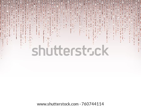 Rose gold glitter background. Pink golden sparkling particles. Vector template for New Year, Christmas, Valentines Day, birthday, party, wedding, card, invitation, save the date. Square confetti.