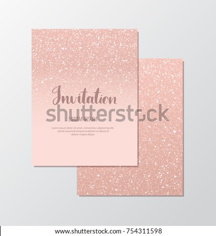 Rose gold sequins. Pastel blush sparkle cards. Rose gold glitter blurred background. Vector template for holiday designs, invitation, party, birthday, wedding, baby shower, New Year, Christmas.