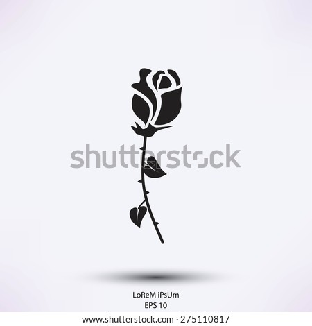 rose icon - stock vector