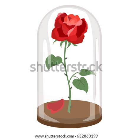 Rose In A Flask Of Glass On The White Background Vector Illustration