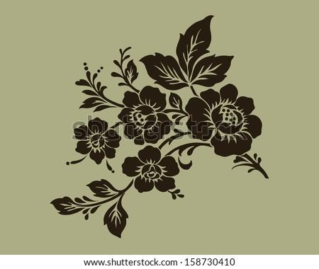 Rose motif,Flower design elements vector - stock vector