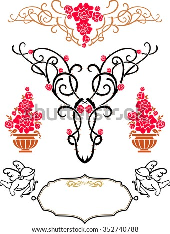 Rose Ornaments-Set of decorative elements for wedding and Valentine invites - stock vector