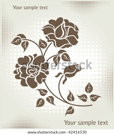rose over halftone background - stock vector