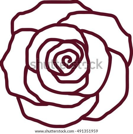 Rose Petal Outline Stock Vector 491351959 - Shutterstock