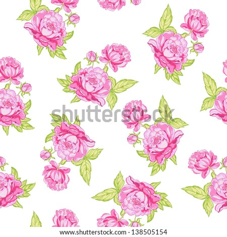 Rose seamless background. Vector illustration.