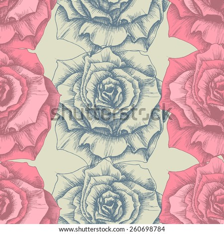 Rose seamless pattern - stock vector