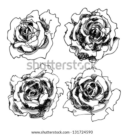 Rose set, hand drawn ink illustration of four roses, black and white, floral elements for your design - stock vector