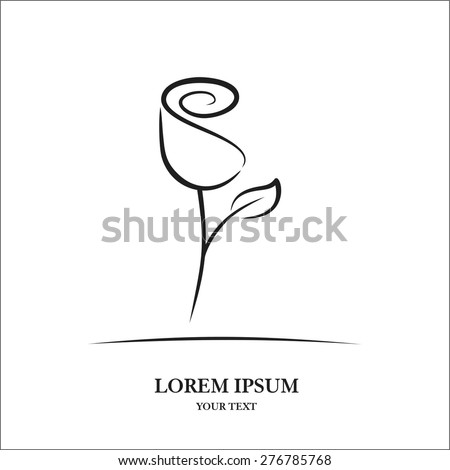 Rose sketch - stock vector