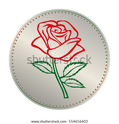 Rose sketch with coin. Flower element. Vector illustration. Elegant floral outline design. Gray coin with flower isolated on white background. Abstract rose. Good for design, logo or decoration