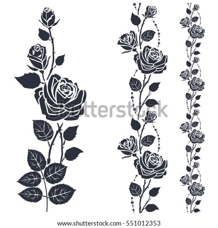 Rose tattoo silhouette roses leaves on stock vector 551012353 rose tattoo silhouette of roses and leaves on a white background mightylinksfo
