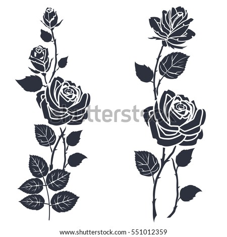 Rose Tattoo Silhouette Roses Leaves On Stock Vector ...