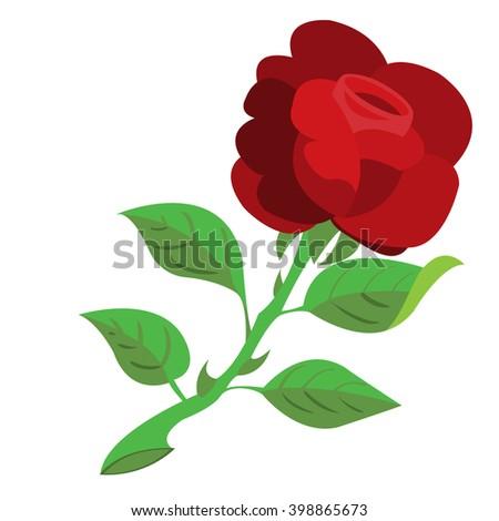 rose the flower color illustration logo