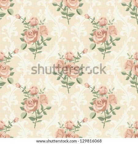 Rose vintage seamless pattern - stock vector
