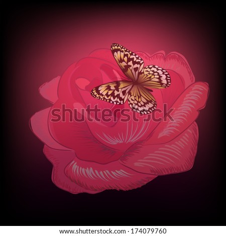 Rose with butterfly on a black background. Vector - stock vector