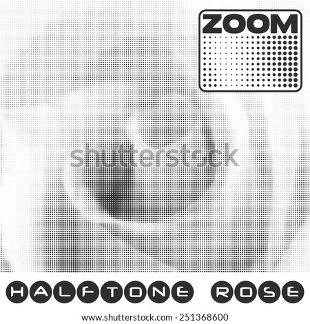 Rose with halftone effect. Image of a flower is formed of small circles of different diameter. Vector pattern - stock vector