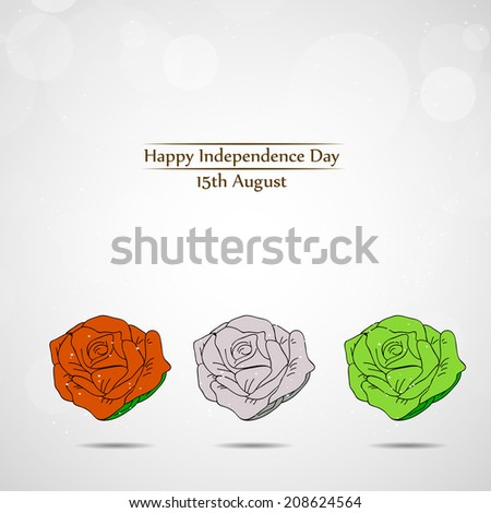 Rose with Indian Flag color for Independence Day - stock vector