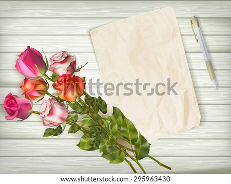 Roses bouquet and blank greeting card over wooden table. EPS 10 vector file included - stock vector