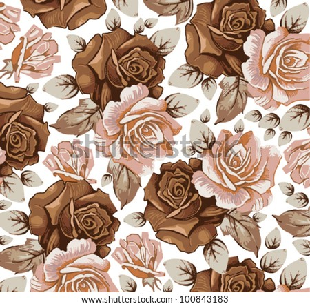 Roses classic pattern. Beautiful pink and red flowers. Vintage background with blooming flowers. Drawing, engraving textile. Freehand. Wallpaper baroque. Vector Victorian style Illustration.