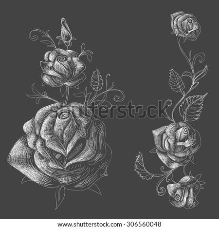 Roses design elements, black background - stock vector
