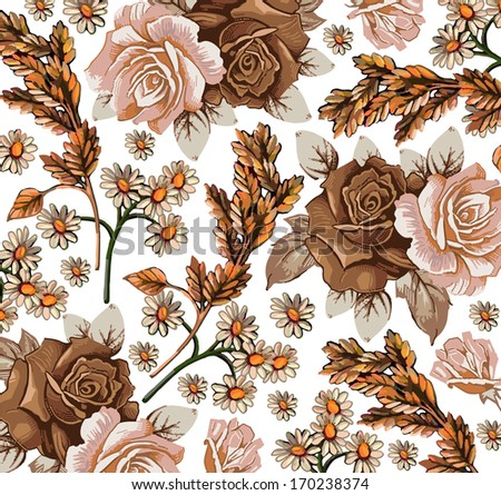 Roses, ears, camomiles. Beautiful background with a flower pattern.