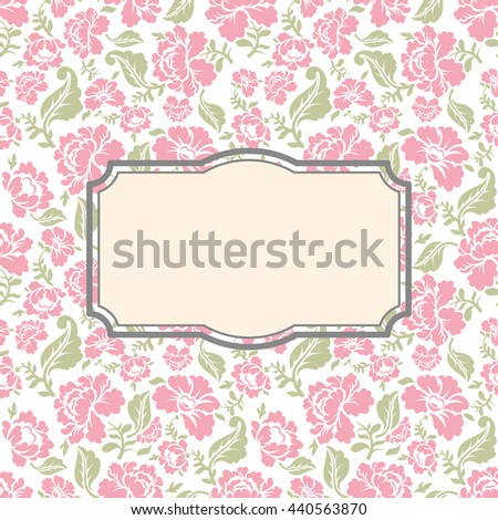 roses floral card frame template text stock vector 440563870