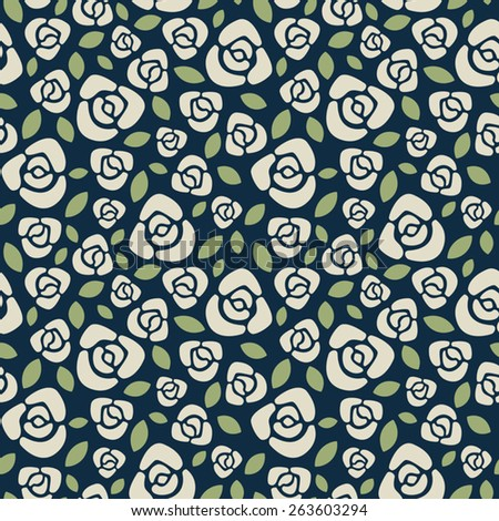 Roses floral vector seamless pattern. White on dark blue backdrop. - stock vector