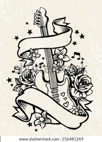 Roses Guitar Rock Roll Tattoo Template Stock Vector Hd Royalty Free