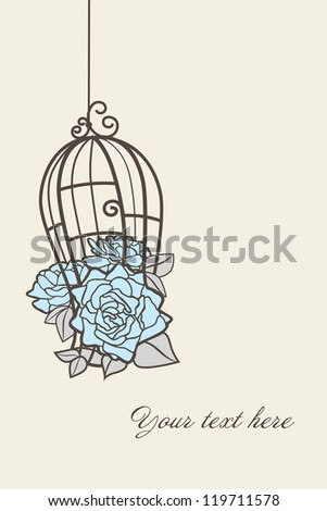 Roses in a cage for birds. - stock vector