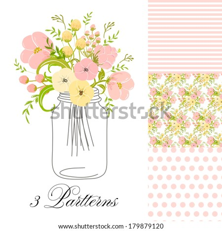 Roses In Mason Jars set - stock vector
