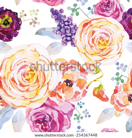 Roses on the white background. Watercolor seamless pattern with flowers. - stock vector