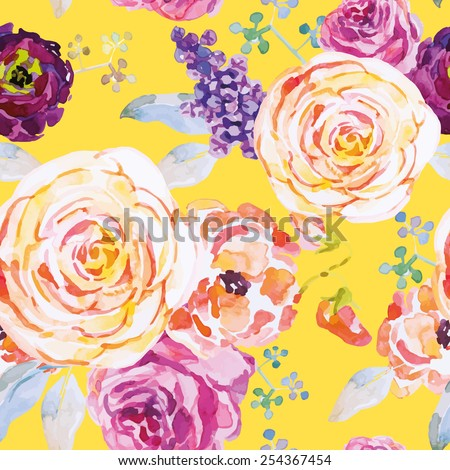 Roses on the yellow background. Watercolor seamless pattern with flowers. - stock vector