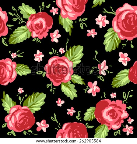 Roses ornament on black background. Seamless pattern. - stock vector