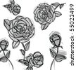 roses pattern - stock vector