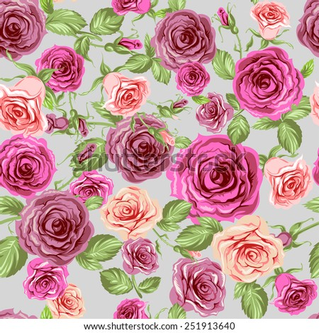 Roses seamless pattern. Beautiful floral background. - stock vector