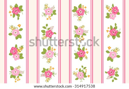 Roses seamless pattern, classic floral background  - stock vector