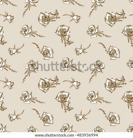 Roses seamless pattern. Hand drawn Illustration. Vector design template