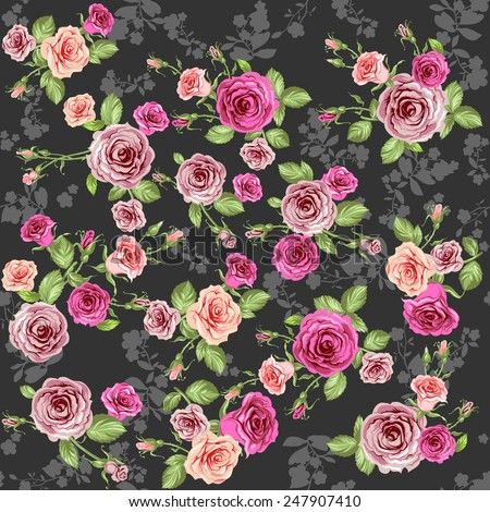 Roses seamless pattern on dark background - stock vector