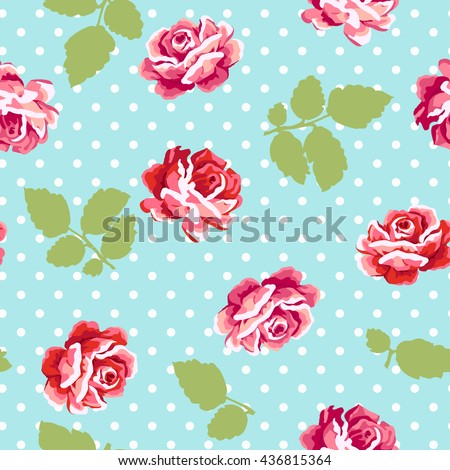 Roses  seamless pattern with polka dot background - stock vector