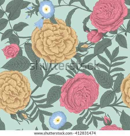 Roses. Seamless vector background. Vintage illustration.