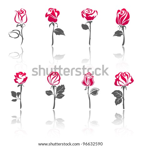 Roses, set icons with reflection