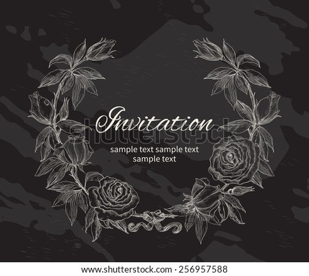 Roses wreath. Rose flower wreath. Vector floral circle border. Hand draw at Chalkboard Style  - stock vector