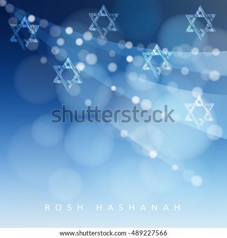 Rosh hashanah jewish new year holiday stock vector 489227566 rosh hashanah jewish new year holiday or hannukah greeting card with lights and jewish stars m4hsunfo