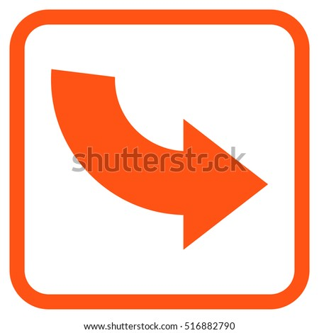 Rotate CCW orange vector icon. Image style is a flat pictograph symbol inside a rounded square frame on a white background.