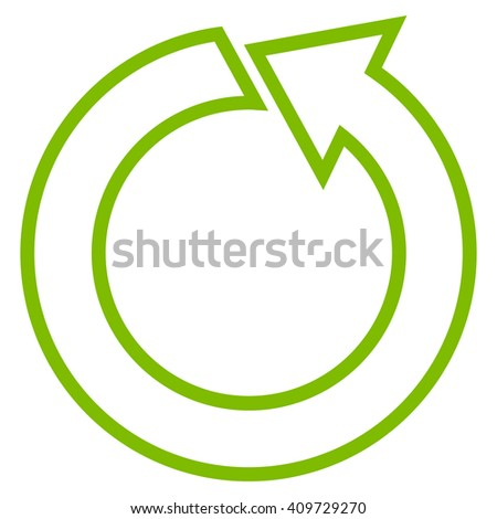 Rotate Ccw vector icon. Style is contour icon symbol, eco green color, white background.