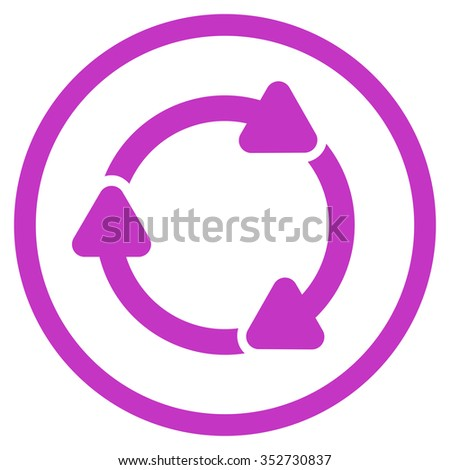 Rotate Cw vector icon. Style is flat circled symbol, violet color, rounded angles, white background.