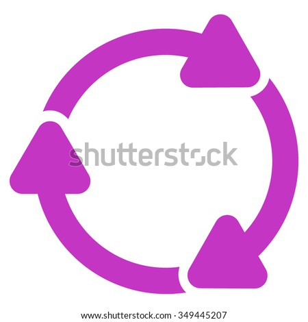 Rotate Cw vector icon. Style is flat symbol, violet color, rounded angles, white background.