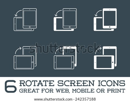 Rotate Smartphone or Cellular Phone or Tablet Icons Set in Vector  - stock vector