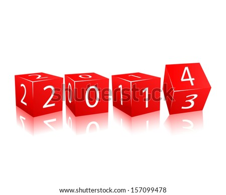 Rotating Brick with 2014 and Old 2013 Year Numbers along Red Edge of Cube . Illustration Isolated on White Background - stock vector
