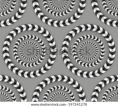 Rotating Circles, Optical Illusion, Vector Seamless Pattern. - stock vector